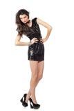 在衣服饰物之小金属片礼服的时装模特儿 库存图片