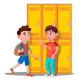 在衣物柜附近的少年在学校传染媒介 按钮查出的现有量例证推进s启动妇女 皇族释放例证