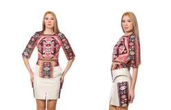 在衣裳的俏丽的模型有在白色隔绝的地毯印刷品的 免版税图库摄影