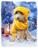 在衣裳水彩绘画的小狗 免版税库存图片