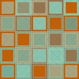 在补缀品样式的五颜六色的背景与正方形和针 图库摄影