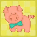 在补缀品样式的五颜六色的背景用小猪 图库摄影