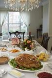 在表上的感恩晚餐 库存图片
