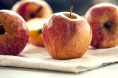 在表的成熟红色苹果 免版税库存图片