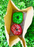 在袋子的多福饼在绿草背景 库存照片