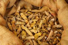 在袋子的姜黄根 姜黄 免版税库存照片