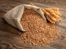 在袋子的麦子在老委员会的五谷和小尖峰 库存照片
