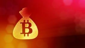在袋子的Bitcoin商标 财务的概念 财政背景由焕发微粒做成作为vitrtual全息图 发光的3D 皇族释放例证