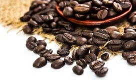 在袋装和木匙子的咖啡豆 库存照片