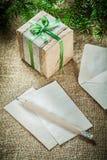 在袋装bac的杉树分支手工制造当前箱子纸铅笔 库存图片