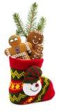 在袜子的圣诞节曲奇饼 免版税库存图片