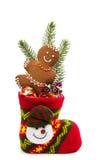 在袜子的圣诞节曲奇饼 库存图片