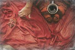 在袜子的女性腿与一个杯子coffe通过窗口冬天 库存照片