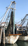 在被停泊的海避风港的捕鱼船 库存照片