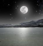 在被冰的湖的月光 库存图片
