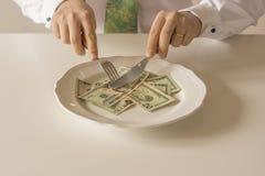 在被切开象与刀子和叉子的食物的板材的金钱 库存照片