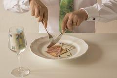 在被切开象与刀子和叉子的食物的板材的金钱 库存图片