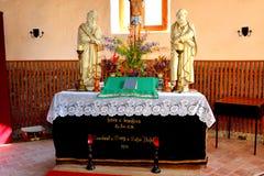 在被加强的中世纪撒克逊人的教会里面在Calnic,特兰西瓦尼亚 免版税库存图片