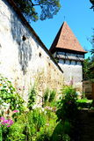 在被加强的中世纪撒克逊人的教会里面在Cincsor-Kleinschenk,锡比乌县 免版税库存图片