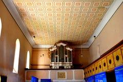 在被加强的中世纪撒克逊人的教会里面在Cinsor-Kleinschenk,锡比乌县 免版税库存照片
