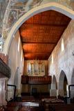 在被加强的中世纪教会里面在Malancrav,特兰西瓦尼亚 免版税库存图片