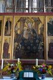 在被加强的中世纪教会里面在Malancrav,特兰西瓦尼亚 免版税库存照片