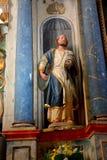 在被加强的撒克逊人的中世纪教会Homorod里面,特兰西瓦尼亚 免版税库存图片