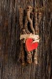 在被包裹的枝杈的红色心脏 图库摄影