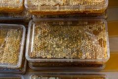 在被密封的梳子框架的新鲜的蜂蜜 库存照片