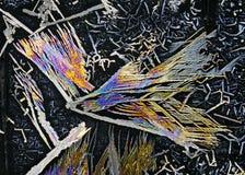 在被对立的ligh的硝酸钾水晶微观看法  免版税库存图片