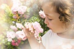 在被弄脏的朦胧的背景的小女孩嗅到的花 免版税库存图片