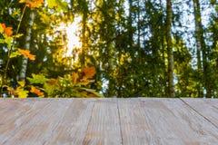 在被弄脏的森林背景和笔的空的土气木台式 免版税库存照片