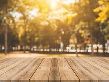 在被弄脏的背景前面的木板空的桌 在迷离树的透视棕色木桌在森林背景中 免版税库存图片
