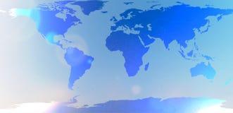 在被弄脏的背景天空摘要的蓝色世界地图 免版税库存照片