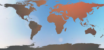 在被弄脏的背景天空摘要的蓝色世界地图 免版税图库摄影
