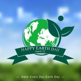 在被弄脏的背景的地球日模板 免版税库存图片