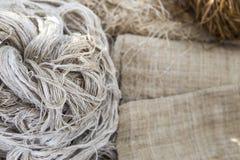 在被弄脏的黑森州的织品的自然颜色威胁 免版税库存照片
