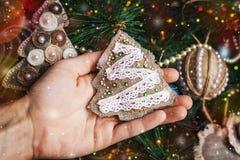 在被弄脏的,闪耀的和神仙的背景的装饰的圣诞节玩具 免版税库存照片