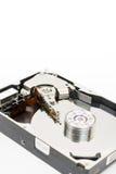 在被打开的个人计算机光盘里面被隔绝在白色背景 免版税库存照片