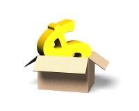 在被打开的纸板箱, 3D的金黄欧洲标志例证 免版税库存照片