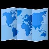 在被折叠的纸的世界地图 免版税库存照片