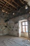 在被抛弃的中世纪城堡圣徒Miklosh, Chynadievo,乌克兰的美术画廊 图库摄影