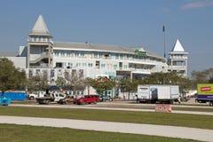 在被改造的Hammond体育场的两个塔 免版税图库摄影