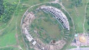 在被放弃的体育场的缓慢的垂直着陆 影视素材