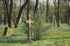 在被放弃的墓地的老交叉 免版税库存照片