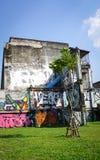 在被放弃的大厦的巨型街道画 免版税库存图片