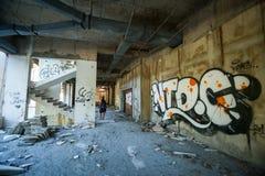 在被放弃的大厦的街道画 库存照片