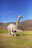 在被放弃的旅游复合体的恐龙雕塑 免版税图库摄影