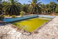 在被放弃的游泳池的腐败绿色水 免版税库存照片