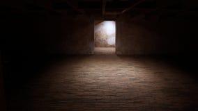 在被放弃的老工厂厂房的空的地下室 免版税库存照片
